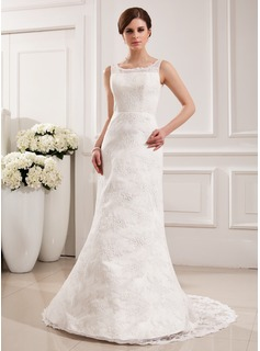 Trumpet/Mermaid Scoop Neck Court Train Satin Lace Wedding Dress (002019532)