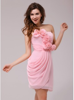 Sheath Sweetheart Knee-Length Chiffon Cocktail Dress With Ruffle Flower(s) (016013977)