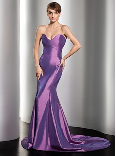 Sheath Sweetheart Court Train Taffeta Evening Dress (017014535)