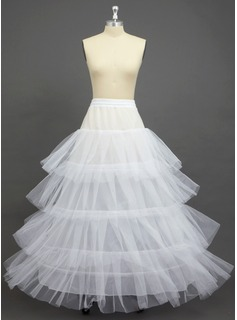 Women Tulle Netting/Polyester Full-Length 2 Tiers Petticoats