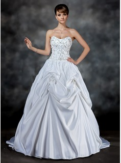Ball-Gown Sweetheart Court Train Satin Wedding Dress With Embroidery Ruffle Beadwork