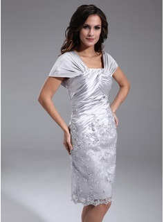 Sheath Off-the-Shoulder Knee-Length Charmeuse Lace Mother of the Bride Dress With Ruffle Beading