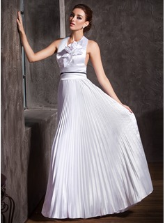 A-Line/Princess Halter Floor-Length Charmeuse Wedding Dress With Ruffle Sashes Beadwork (002001197)