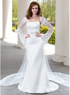 Sheath/Column Sweetheart Watteau Train Satin Tulle Wedding Dress With Lace Beadwork