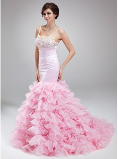 Trumpet/Mermaid Scoop Neck Court Train Organza Satin Prom Dress With Beading Cascading Ruffles