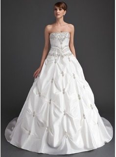 Ball-Gown Strapless Cathedral Train Taffeta Wedding Dress With Ruffle Beadwork