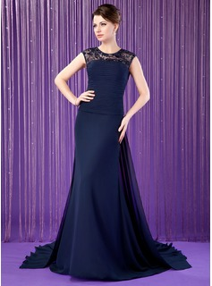 A-Line/Princess Scoop Neck Watteau Train Chiffon Tulle Mother of the Bride Dress With Ruffle Lace Beading Sequins