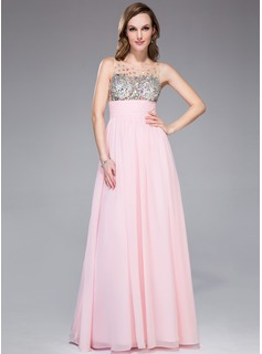 Empire Scoop Neck Floor-Length Chiffon Tulle Prom Dress With Ruffle Beading