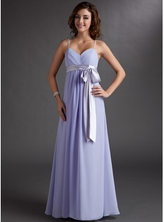 Empire Sweetheart Floor-Length Chiffon Charmeuse Bridesmaid Dress With Ruffle Sash
