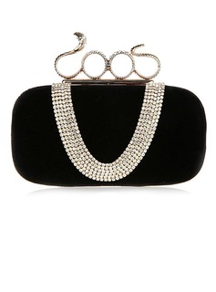 Charming Velvet With Rhinestone Clutches