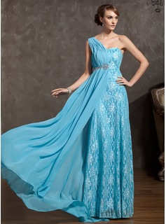 A-Line/Princess One-Shoulder Watteau Train Chiffon Lace Prom Dress With Ruffle Beading