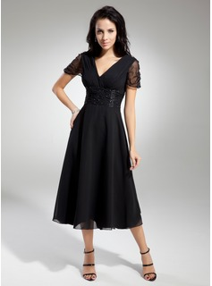 A-Line/Princess V-neck Tea-Length Chiffon Charmeuse Mother of the Bride Dress With Ruffle Beading (008014919)