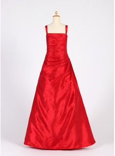 A-Line/Princess Square Neckline Floor-Length Taffeta Junior Bridesmaid Dress With Ruffle (009016222)