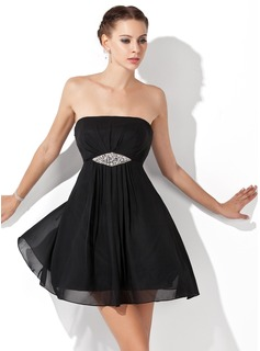 Empire Strapless Short/Mini Chiffon Homecoming Dress With Ruffle Beading (022021069)