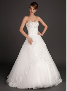 Ball-Gown Sweetheart Floor-Length Organza Satin Wedding Dress With Ruffle Lace Beadwork