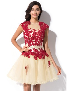 A-Line/Princess Scoop Neck Short/Mini Tulle Charmeuse Homecoming Dress With Lace