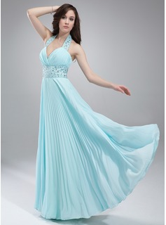 A-Line/Princess Halter Floor-Length Chiffon Prom Dress With Beading Pleated