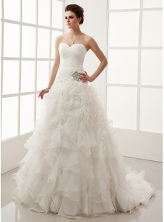 Ball-Gown Sweetheart Chapel Train Organza Satin Wedding Dress With Ruffle Crystal Brooch