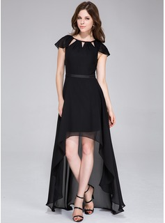 A-Line/Princess Scoop Neck Asymmetrical Chiffon Charmeuse Holiday Dress With Bow(s)