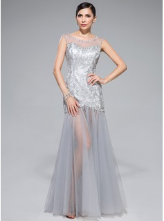 Trumpet/Mermaid Scoop Neck Floor-Length Tulle Sequined Prom Dress With Beading
