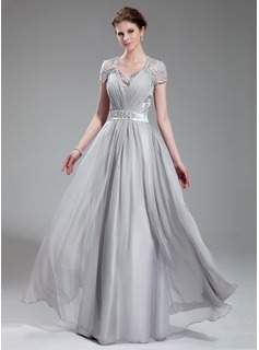 A-Line/Princess V-neck Floor-Length Chiffon Charmeuse Lace Evening Dress With Ruffle Beading
