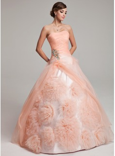 Ball-Gown Strapless Floor-Length Organza Quinceanera Dress With Ruffle Beading Flower(s) (021017549)