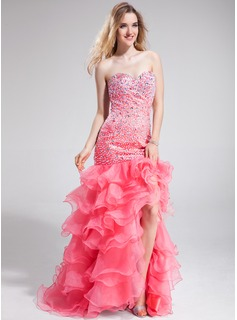 Trumpet/Mermaid Sweetheart Sweep Train Organza Prom Dress With Beading Split Front Cascading Ruffles
