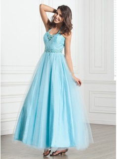 A-Line/Princess Halter Ankle-Length Tulle Holiday Dress With Ruffle Beading (020026033)
