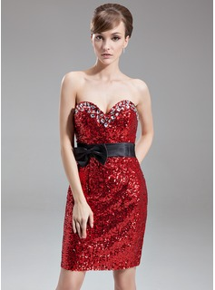 Sheath/Column Sweetheart Knee-Length Satin Sequined Cocktail Dress With Sash Beading Bow(s)
