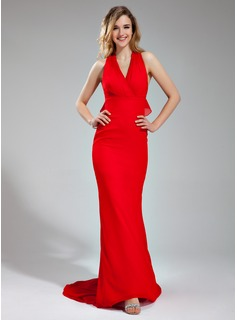 Mermaid Halter Sweep Train Chiffon Evening Dress With Ruffle (017039548)