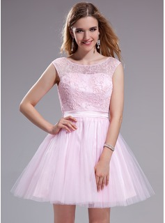 A-Line/Princess Scoop Neck Short/Mini Tulle Charmeuse Prom Dress With Ruffle Lace Beading Sequins