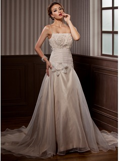 A-Line/Princess Chapel Train Organza Satin Wedding Dress With Ruffle Lace Beadwork Flower(s)