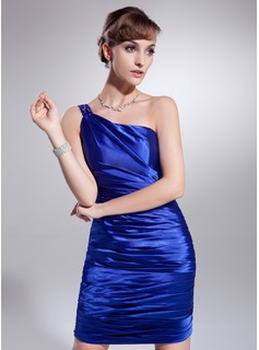 Sheath One-Shoulder Short/Mini Charmeuse Cocktail Dress With Ruffle Beading (016008629)