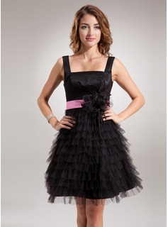 A-Line/Princess Square Neckline Short/Mini Tulle Charmeuse Homecoming Dress With Lace Sash Flower(s) (022016390)