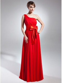 A-Line/Princess One-Shoulder Floor-Length Chiffon Charmeuse Mother of the Bride Dress With Ruffle Bow(s)
