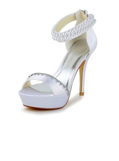 Women's Satin Stiletto Heel Pumps Sandals With Imitation Pearl Rhinestone Zipper (047040237)