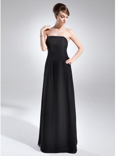 A-Line/Princess Strapless Floor-Length Chiffon Mother of the Bride Dress