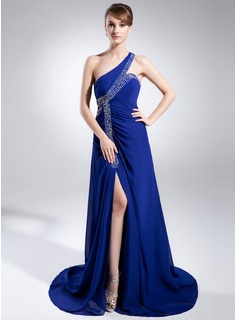 A-Line/Princess One-Shoulder Sweep Train Chiffon Mother of the Bride Dress With Beading