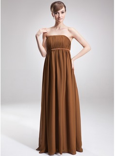 Empire Strapless Floor-Length Chiffon Charmeuse Maternity Bridesmaid Dress With Ruffle