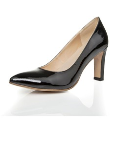 Patent Leather Chunky Heel Pumps Closed Toe With Jewelry Heel shoes