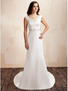 Sheath/Column V-neck Court Train Satin Wedding Dress With Beading Bow(s)
