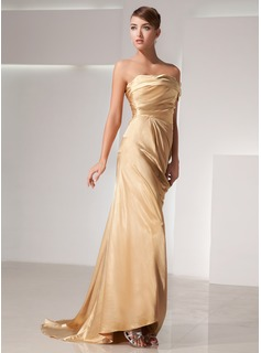 Sheath One-Shoulder Court Train Charmeuse Evening Dress With Ruffle (017014438)