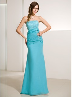 Mermaid Strapless Floor-Length Chiffon Satin Evening Dress With Ruffle Lace Beading (017014213)