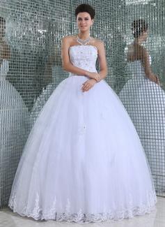 Corte de baile Estrapless Hasta el suelo Tul Vestido de novia con Encaje Bordado