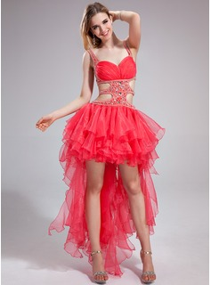 A-Line/Princess Sweetheart Asymmetrical Organza Charmeuse Prom Dress With Ruffle Beading