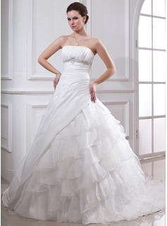 Ball-Gown Strapless Cathedral Train Taffeta Organza Wedding Dress With Lace Beading Cascading Ruffles