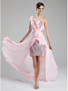 A-Line/Princess One-Shoulder Court Train Chiffon Sequined Prom Dress With Ruffle Beading