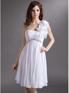 Empire One-Shoulder Knee-Length Chiffon Tulle Homecoming Dress With Ruffle Beading Flower(s)