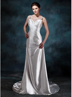 A-Line/Princess Sweetheart Watteau Train Charmeuse Wedding Dress With Ruffle Beadwork