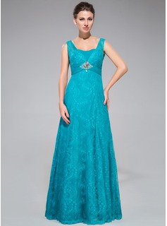 Trumpet/Mermaid Sweetheart Floor-Length Chiffon Lace Evening Dress With Ruffle Beading